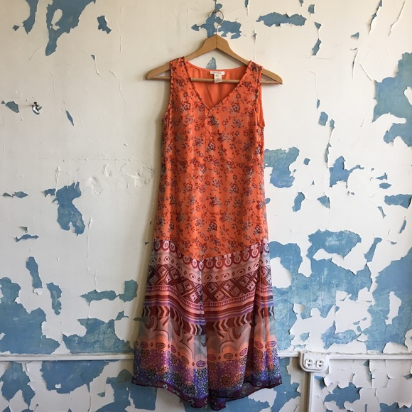 Sundance Dresses & Skirts - Sundance | Boho Orange Ombré Floral Midi Sundress